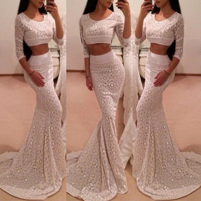 Hot 3/4 Sleeve Lace Prom Dress UK Two Pieces Mermaid Long_3