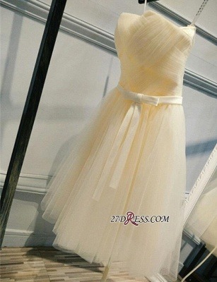 Short Romantic Strapless Ruched-Top With Sash Homecoming Dress UKes UK_4