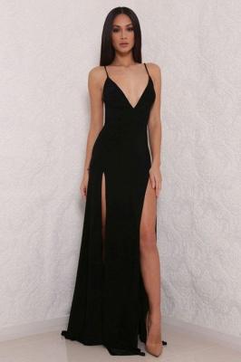 Elegant V-Neck Spaghetti Strap Prom Dress UK Mermaid With Split BAFRE0051_4