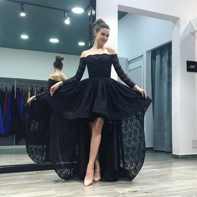 Elegant Black Lace Hi-Lo Prom Dress UK Long Sleeve Party Gowns_3