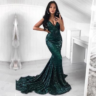 Green Sequins Prom Dress UK | Mermaid Evening Party Dress UK_3