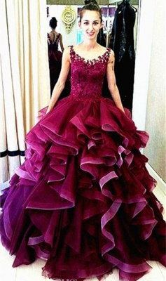 Newest Lace Appliques Ruffles Princess Evening Dress UK Sleeveless_1