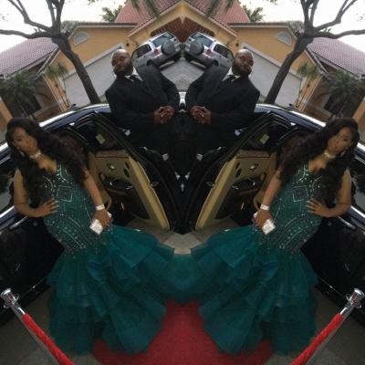 Green ruffles prom Dress UK, mermaid evening Dress UK with crystals BK0 BA9086_3