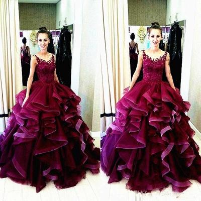 Newest Lace Appliques Ruffles Princess Evening Dress UK Sleeveless_3