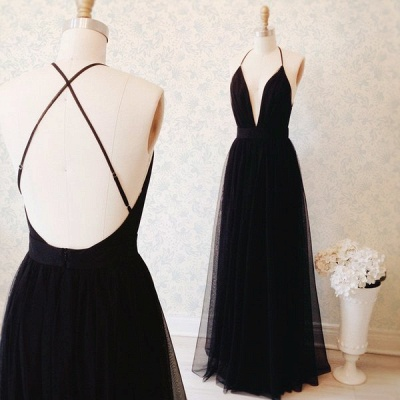 Elegant Black Sleeveless Prom Dress UK Long Tulle Floor Length BA3178_3