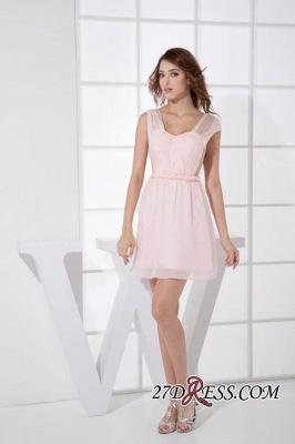 Sleeveless Straps Short Chiffon Sexy Pink Open-Back Elegant Bridesmaid Dress UKes UK_5