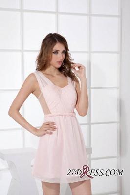 Sleeveless Straps Short Chiffon Sexy Pink Open-Back Elegant Bridesmaid Dress UKes UK_4
