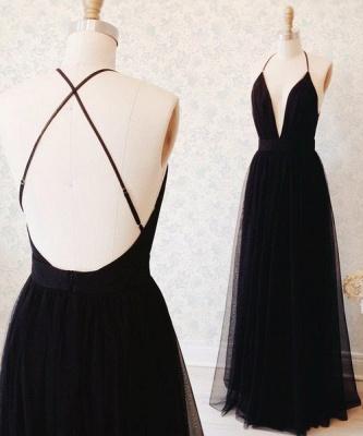 Elegant Black Sleeveless Prom Dress UK Long Tulle Floor Length BA3178_2