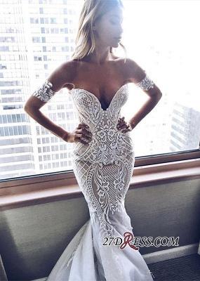 Off-the-shoulder  Sexy Mermaid Zipper Embroider Wedding Dress_4