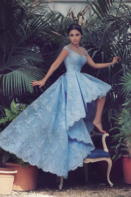 Delicate Sweetheart Hi-Lo Prom Dress UK Lace Appliques Sweep Train_1