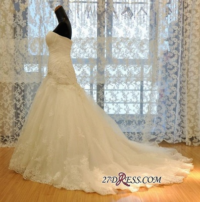 Ruched Flowers Beads Sweetheart-Neck Lace-Up Back Sexy Mermaid Lace Wedding Dresses UK_2