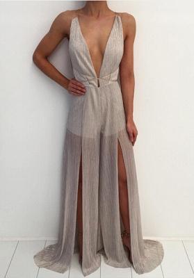 Modern Deep V-neck Prom Dress UK Straps A-line Front Split_1