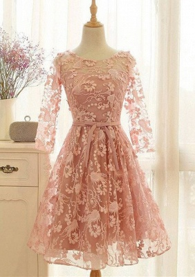 Lovely Long-Sleeve Pink Homecoming Dress UK | 2019 Lace Short Prom Party Gowns_1