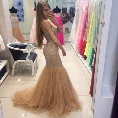 Gorgeous Sweetheart Beadings Mermaid Evening Dress UKes UK Tulle Zipper Back_3