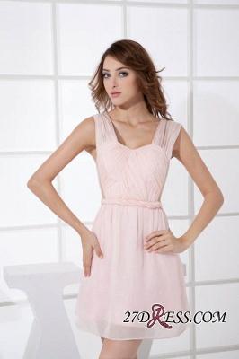 Sleeveless Straps Short Chiffon Sexy Pink Open-Back Elegant Bridesmaid Dress UKes UK_1