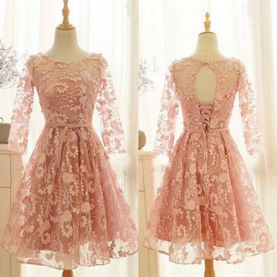 Lovely Long-Sleeve Pink Homecoming Dress UK | 2019 Lace Short Prom Party Gowns_4