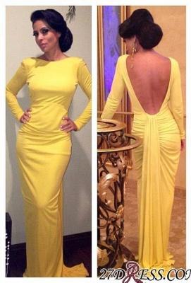 Sheath Long-Sleeve Open-Back Ruched Yellow Evening Dress UK_2