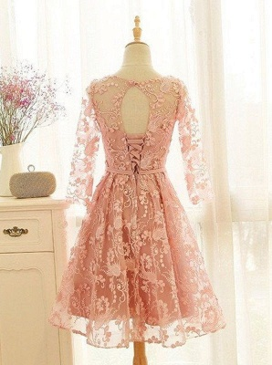 Lovely Long-Sleeve Pink Homecoming Dress UK | 2019 Lace Short Prom Party Gowns_3