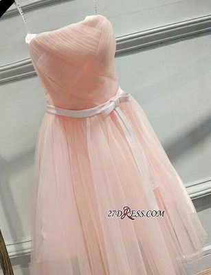 Short Romantic Strapless Ruched-Top With Sash Homecoming Dress UKes UK_3