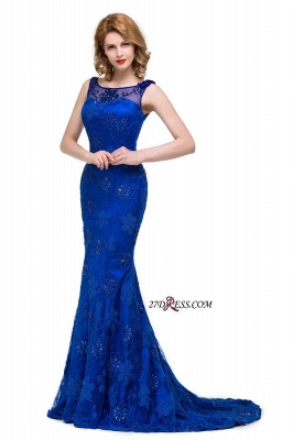 Sleeveless Tulle Mermaid Royal-Blue Appliques Crystal Prom Dress UK_3