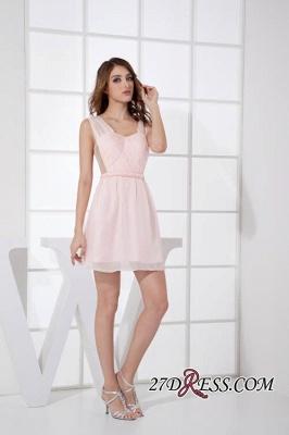 Sleeveless Straps Short Chiffon Sexy Pink Open-Back Elegant Bridesmaid Dress UKes UK_2