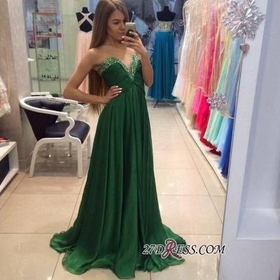 Sleeveless Chiffon Green Sweetheart A-line Sexy Evening Dress UK_1