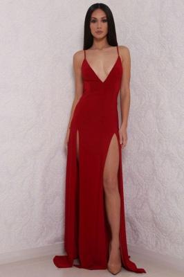 Elegant V-Neck Spaghetti Strap Prom Dress UK Mermaid With Split BAFRE0051_1