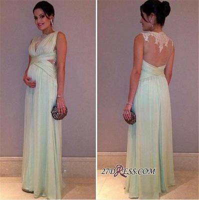 Lace Sleeveless Sexy A-line Maternity Long Chiffon Prom Dress UK_2