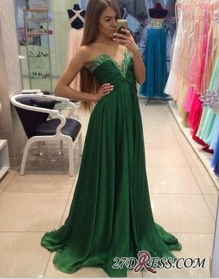Sleeveless Chiffon Green Sweetheart A-line Sexy Evening Dress UK_2