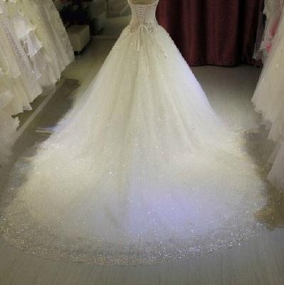New Arrival Beaded Wedding Dresses UK Sweetheart Sleeveless Lace Appliques Bridal Dresses_4