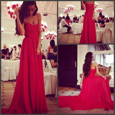 Elegant red sweetheart long chiffon prom Dress UK on sale_2