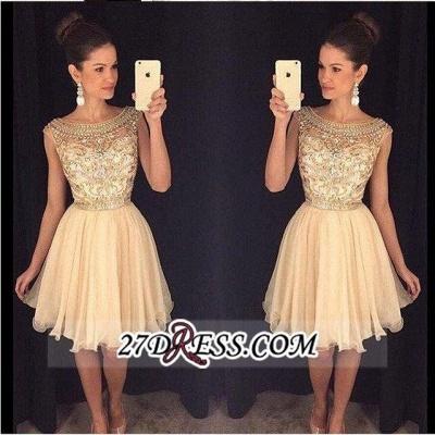 Luxury Gold Capped-Sleeves Beaded Bateau-Neck Short Homecoming Dress UKes UK AP0_1
