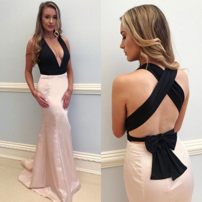 Sexy V-Neck Pink Prom Dress UK | Mermaid Evening Gowns_3