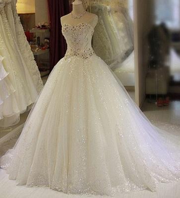 New Arrival Beaded Wedding Dresses UK Sweetheart Sleeveless Lace Appliques Bridal Dresses_1