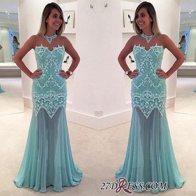 Elegant Appliques Sweep-Train High-Neck Mermaid Sleeveless Lace Prom Dress UK_1