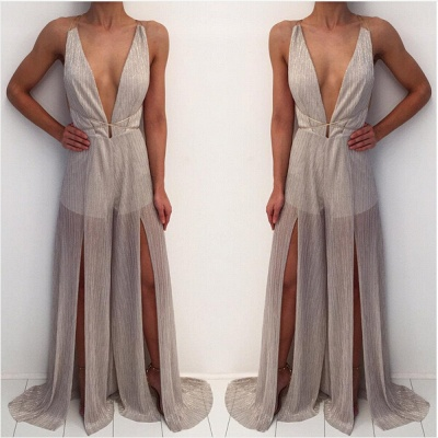 Modern Deep V-neck Prom Dress UK Straps A-line Front Split_3