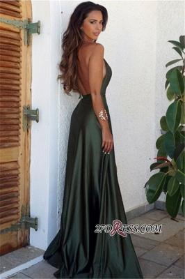 Backless Long Split Simple Sexy V-Neck Prom Dress UK_1
