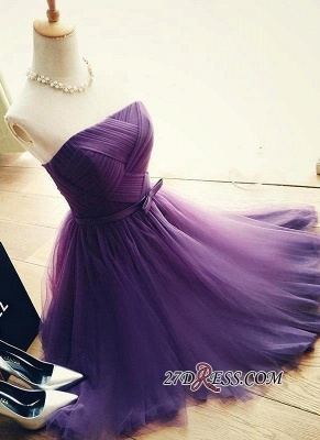 Short Romantic Strapless Ruched-Top With Sash Homecoming Dress UKes UK_7