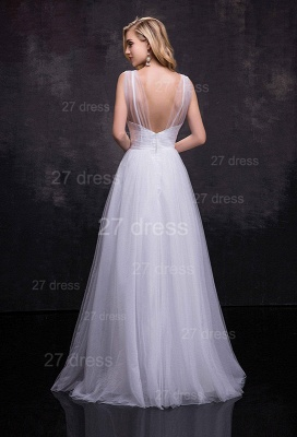 Newest Straps Tulle A-line Wedding Dress Crystals Zipper_3