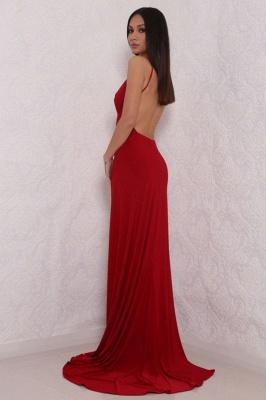 Elegant V-Neck Spaghetti Strap Prom Dress UK Mermaid With Split BAFRE0051_3