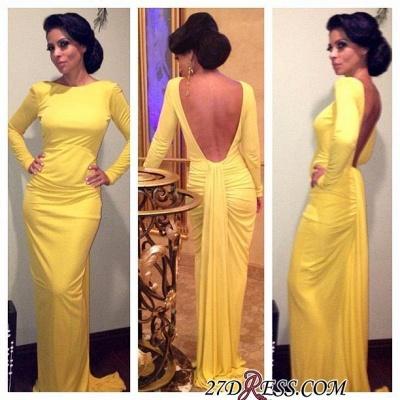Sheath Long-Sleeve Open-Back Ruched Yellow Evening Dress UK_1