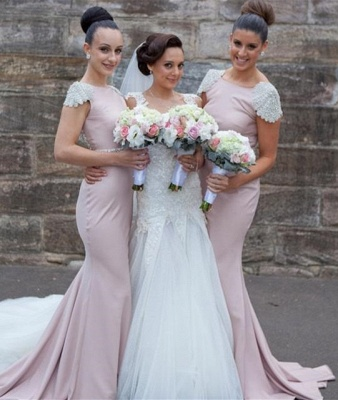 Elegant V-neck Cap Sleeve Tulle Wedding Dress With Lace Appliques_1