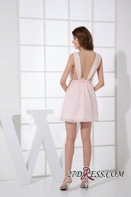 Sleeveless Straps Short Chiffon Sexy Pink Open-Back Elegant Bridesmaid Dress UKes UK_3