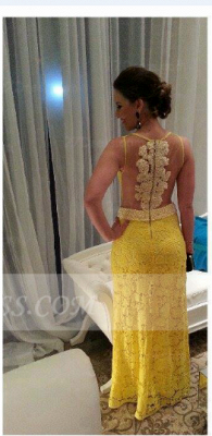 Floor-length Sheath Prom Dress UKes UK Evening Gowns with Yellow Lace Appliques Pearls Jewel Sleeveless Sequins_2