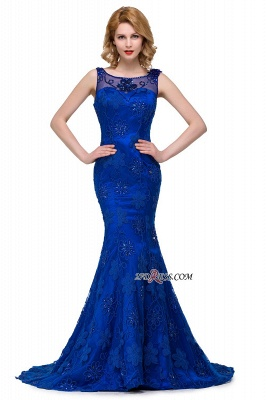 Sleeveless Tulle Mermaid Royal-Blue Appliques Crystal Prom Dress UK_5