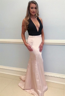 Sexy V-Neck Pink Prom Dress UK | Mermaid Evening Gowns_1