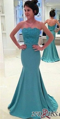 Lace Mermaid Sash Strapless Green Long Evening Gowns BA3952_2
