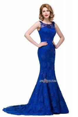 Sleeveless Tulle Mermaid Royal-Blue Appliques Crystal Prom Dress UK_2