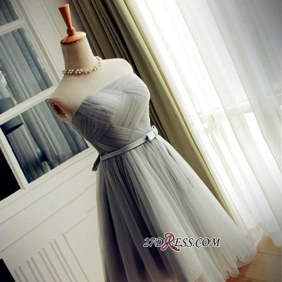 Short Romantic Strapless Ruched-Top With Sash Homecoming Dress UKes UK_5