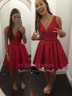 Red Short Sash Bowknot V-neck Straps Sexy Sleeveless Simple Homecoming Dress UK_1